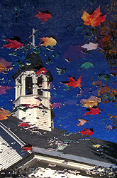 Church and leaves in puddle, Woodstock, New Hampshire - Strictly copyrighted John T. Baker Photographer LLC, JayBee Stock.com