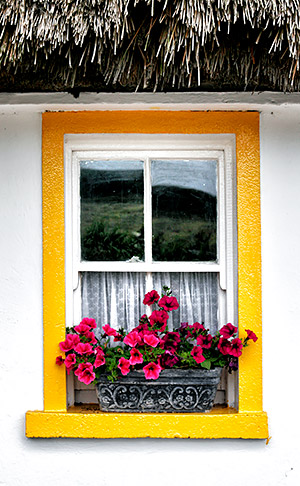Window in thatched cottage, County Clare, Ireland