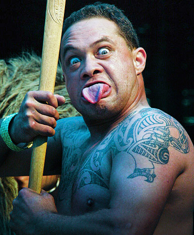 Maori warrior on a photo tour of New Zealand