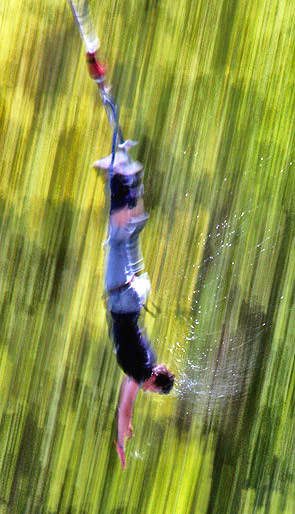 Bungee jumping at the original source, South Island, New Zealand photo tour image