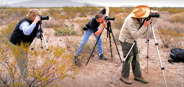 Photographers taking photos in Big Bend National Park, Texas